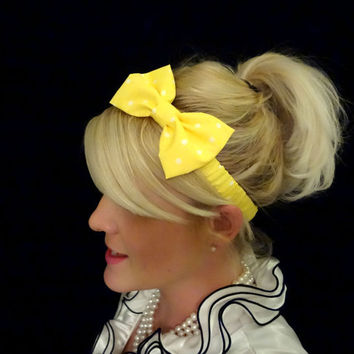 Yellow and white polka dot bow stretch headband retro/pinup/feminine