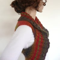 Hand Knit Vest Multicolor Wool Blend  in Red Green Purple One of a kind