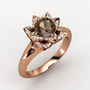 Lotus Ring - Round Smoky Quartz 18K Rose Gold Ring with Diamond | Gemvara