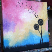 Dandelions Abstract acrylic painting
