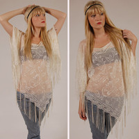 Cream Vintage 80s LACE Shawl Poncho Cape by LotusvintageNY on Etsy