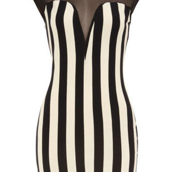 Striped bodycon mesh dress - Party Dresses  - Dresses