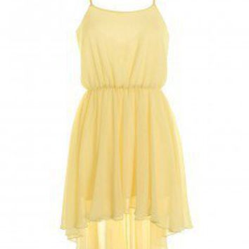 LOVE Lemon Spaghetti Strap Dip Hem Dress - Love