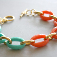 Arm Candy - coral mint and gold link bracelet