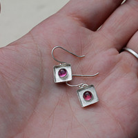 Pink Tourmaline Sterling Silver Bezel Set Shadow Box Earrings. Pink Stone. textured background. tourmaline. Donation to Madcap Charity.
