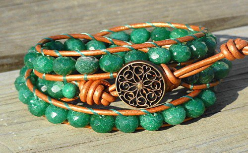 3 Wrap Leather Bracelet - Rustic Bling Emerald Green Aventurine