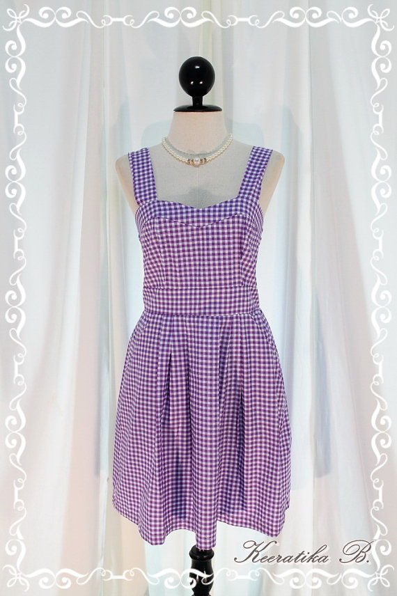 Winter Love Song - New Every Seasons Dress Lilac Violet Pastel Checkered Print All Over S-M