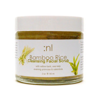 Bamboo Rice Organic Facial Scrub  with Willow Bark, Calendula, Sea Kelp and Lemongrass. Cleansing Grains. All Natural and Vegan.