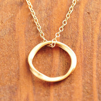 Gold Circle Necklace - 14k gold filled, gold eternity necklace, gold ring necklace, eternity circle, bridesmaid necklace