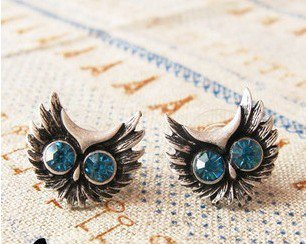 Vintage Inspired Antique Silver Cute Owl Small Stud Earrings wholesale