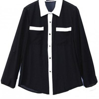 Women Euro Style New Simple Revers Neck Slim Blue-Black Splicing Chiffon Black T-Shirt One Size@WY2044b $15.55 only in eFexcity.com.
