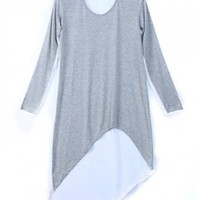 Women New Chiffon Splicing Scoop Long Sleeve Asymetrical Loose Cotton Light Grey T-Shirt One Size@WY2042lg $15.55 only in eFexcity.com.