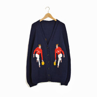 Vintage Cowichan Bowling Sweater in Navy Blue Red White - xl