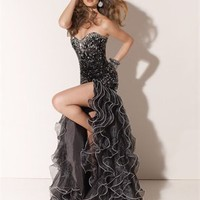 Sexy Mermaid Stapless Sweetheart Beaded Bodice with High Split Ruffled Skirt Prom Dress PD1941