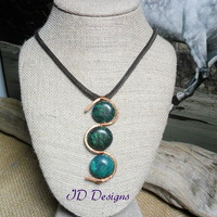 Handmade Hammered S shape Copper Yellow Turquoise Stone Leather Necklace