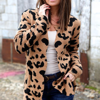 Scalloped Cheetah Cardi {Brown}
