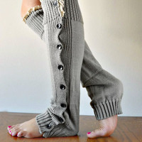 Gray knitted Lace Leg Warmers - Knitted socks