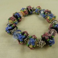 Flower Design Lampwork Bead Bracelet Stretch Blue Pink
