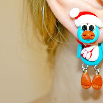 Christmas penguin dangling earrings,Holiday clinging earrings,fake gauge,Xmas fake plug,animal two part earrings,front back,Unique faux