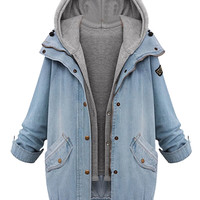 Blue Hooded Zipper Rope Long Sleeve Denim Coat - Choies.com