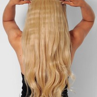 Light Golden Blonde Curly Instant Full Head Clip In Hair Extensions | Pink Boutique