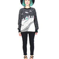 80s Snow Fields Sweater Novelty Print Sweater Knit Winter Scene Jumper Snowflake Houses Black White Ugly Christmas Sweater (S/M)