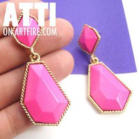 Large Bright Neon Pink Geometric Dangle Earrings on Gold Texture Trim