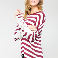 Crochet Point Stripe Top