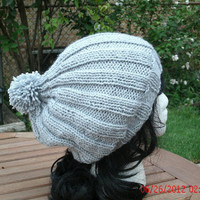 Hand Knit Hat - 3x3 Hat - Women's Hat - Fall Accessories - Winter Accessories - Slouchy Hat