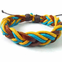 jewelry bangle leather bracelet  woven bracelet girl bracelet  women bracelet with leather and cotton Ropes woven Bracelet Cuff  SH-0231