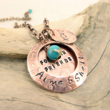 Friendship Necklace, Forever Friends Hand Stamped Copper Locket Necklace - Rustic Personalized Jewelry -  Besties - Girlfriends