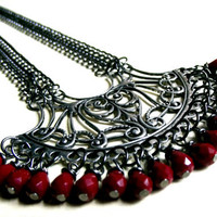 Red &amp; Silver Statement Necklace:  Art Nouveau Filigree Heart, Vintage Large Focal, Scarlet Crystal