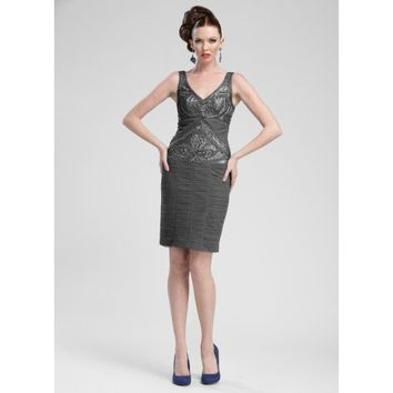 Sue Wong Embroidered Cocktail Sheath Dress - N3368