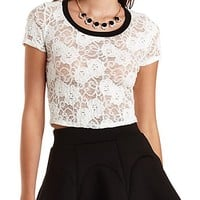 Short Sleeve Lace Crop Top by Charlotte Russe - White