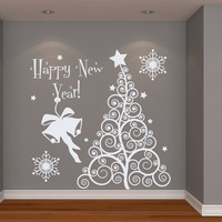 Wall Decal Vinyl Sticker Decals Art Home Decor Murals Christmas Tree Happy New Year Merry Christmas Winter Snowflakes Bedroom Dorm Nursery Kids Gift Decals U428