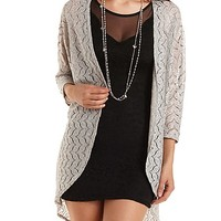 Metallic Lace Duster Kimono Top by Charlotte Russe - Silver