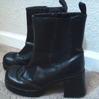 Leather Chunky Black Boots Womens Size 10