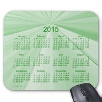 2015 Calendar Sage Green Pinch Knot Mouse Pad