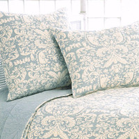 Pine Cone Hill Grace Dusty Blue Quilted Pillow Sham