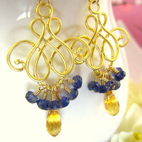 Citrine Blue Iolite Gold Chandelier Earrings