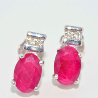 Genuine Ruby Oval Stud Diamond Earrings in Sterling Silver
