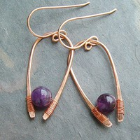 Amethyst Earrings Inverted Hoops