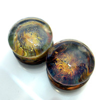 "1g,0g,00g,000g or 7/16"" (11mm) ALIEN LANDSCAPE Ear Plugs Gauges for Stretched Ears Glass Pyrex"