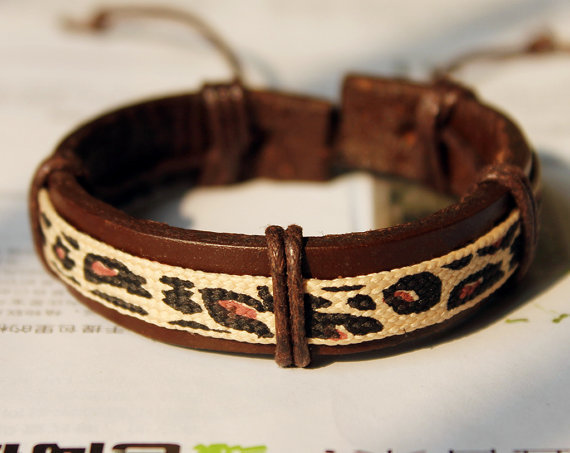 Brown Leather Cuff with a strip of Cotton Pattern Cloth Bracelet C-03