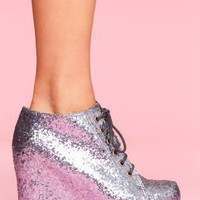 99 Tie Wedge - Pewter Glitter - NASTY GAL