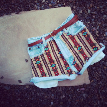 Vintage High Waisted Jean Shorts Aztec Print