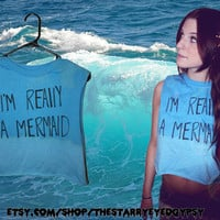 I&#x27;m Really A Mermaid Aqua Grunge Cropped Tank