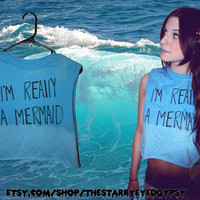 I'm Really A Mermaid Aqua Grunge Cropped Tank