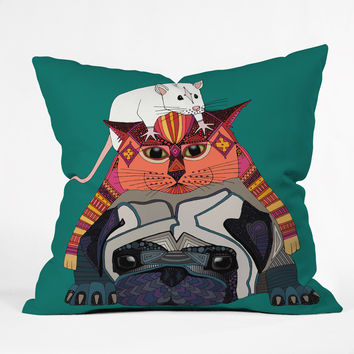 Sharon Turner mouse cat pug Throw Pillow - Indoor /