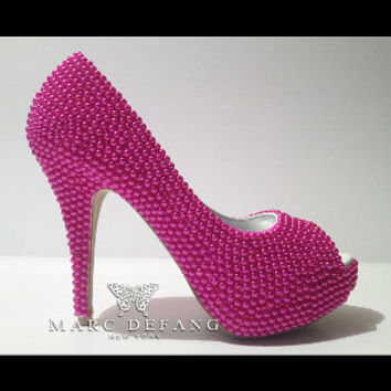 The Essential Pearl Platforms (Fuschia Pink) heels by MDNY